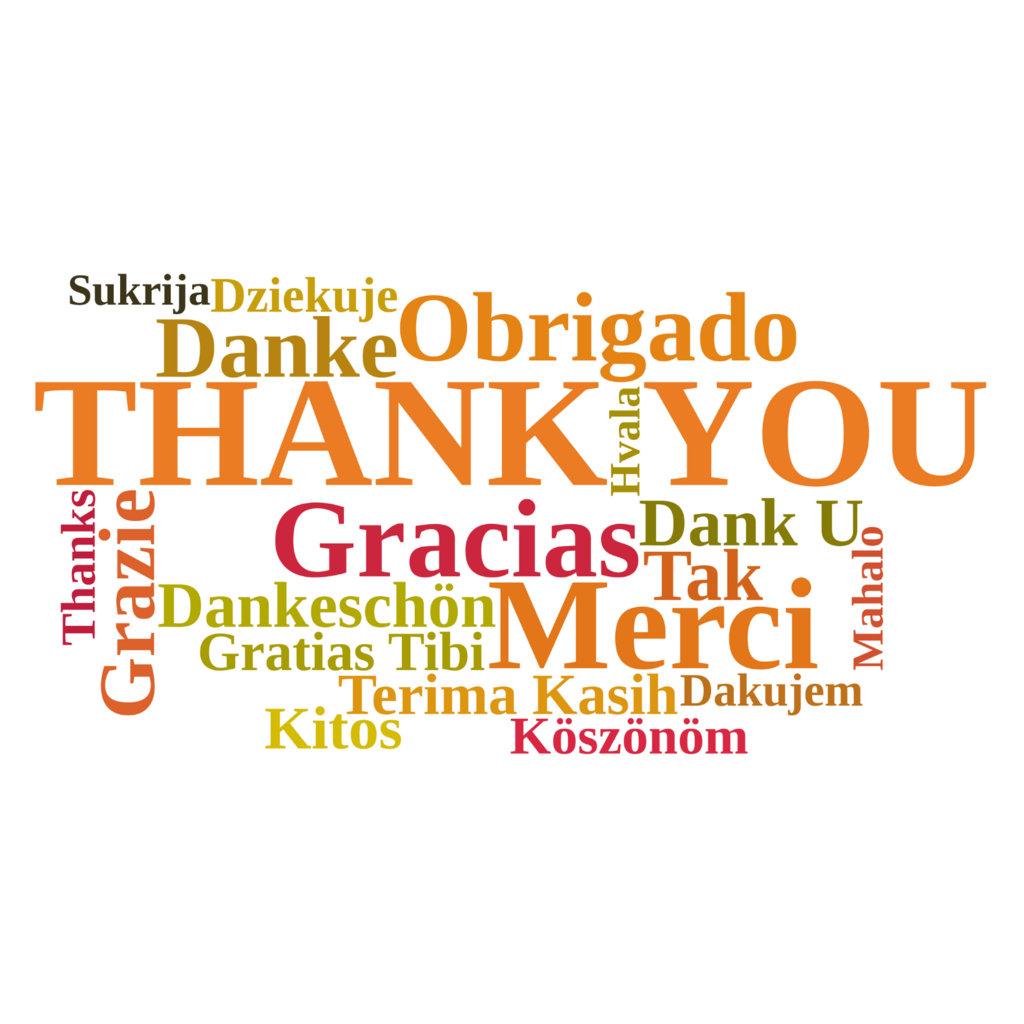 Thank you word cloud in orange, green and red