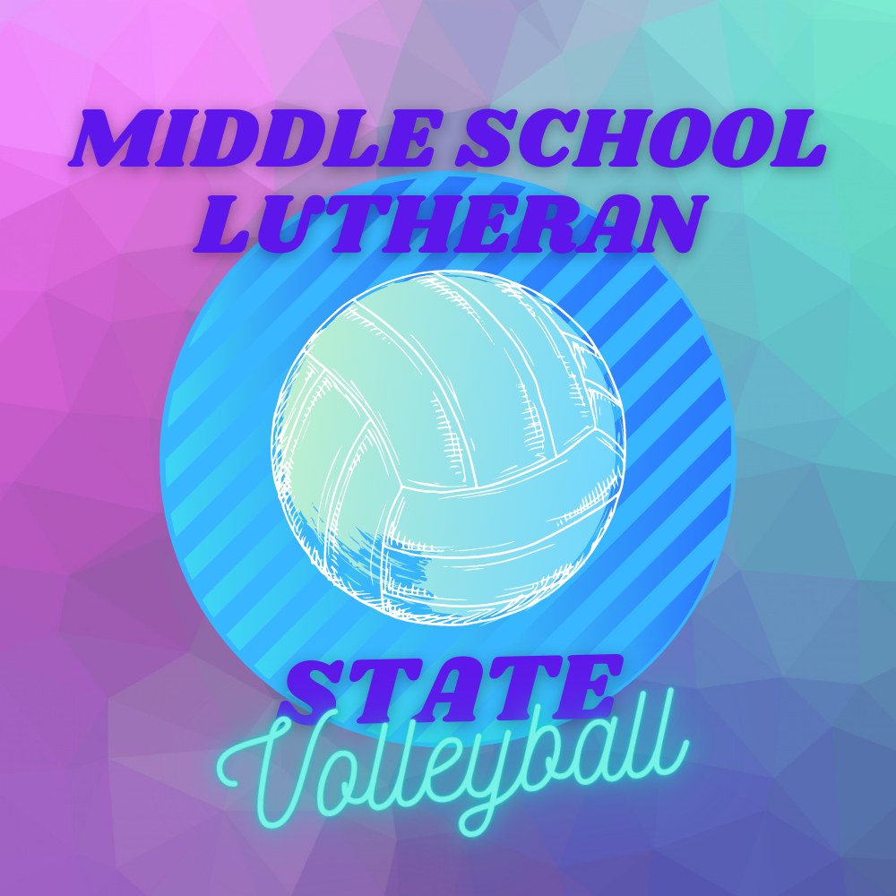 Volleyball on a blue, pink, purple and teal background