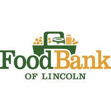Food Bank of Lincoln logo with green and gold grocery basket