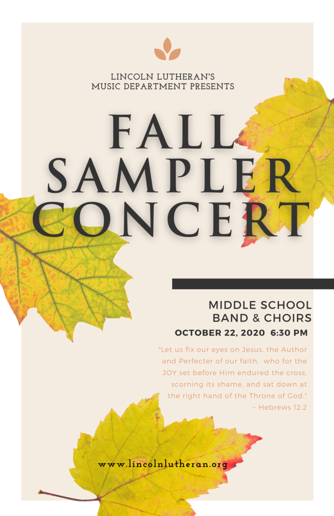 Fall Sampler Concert with autumn leaves