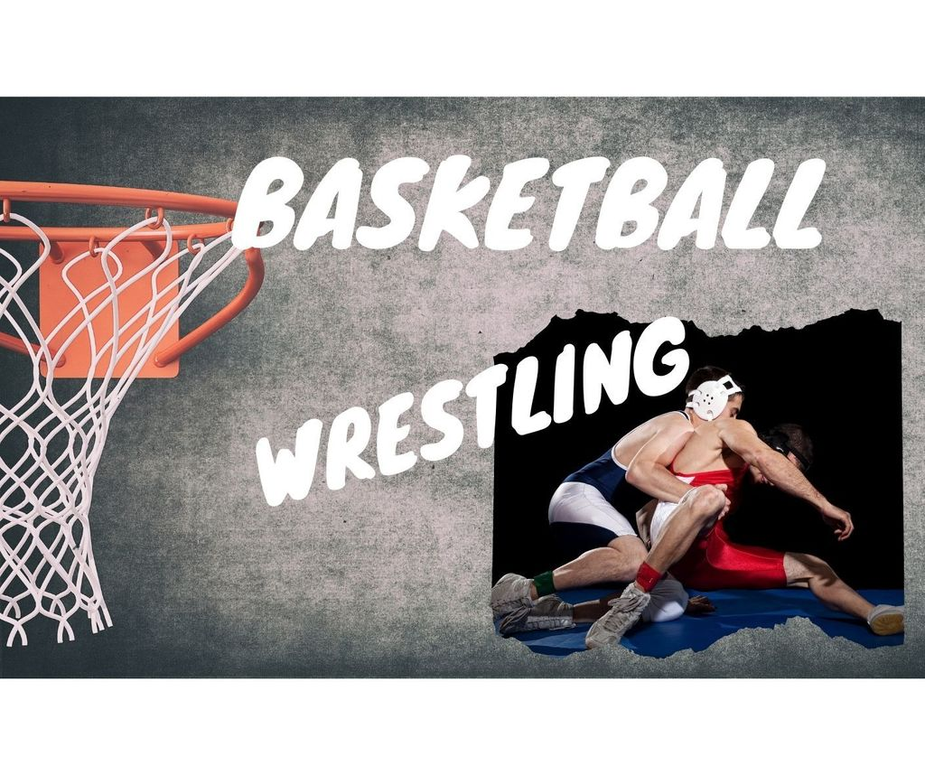 Basketball hoop and two wrestlers