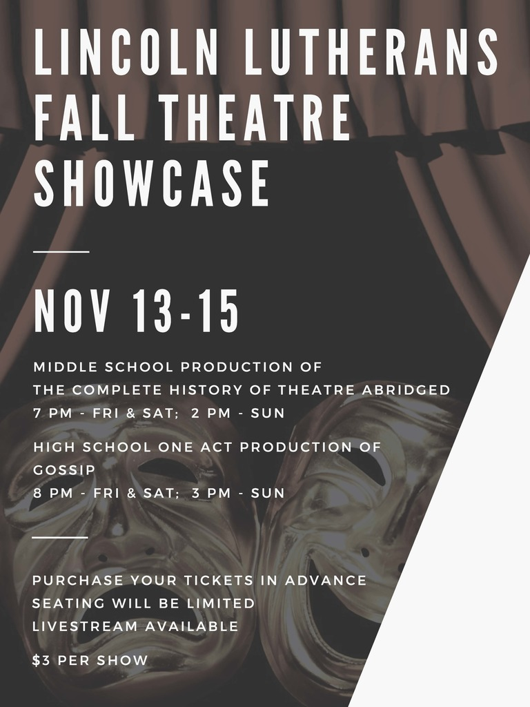 Fall Drama poster with the Drama Masks and curtains