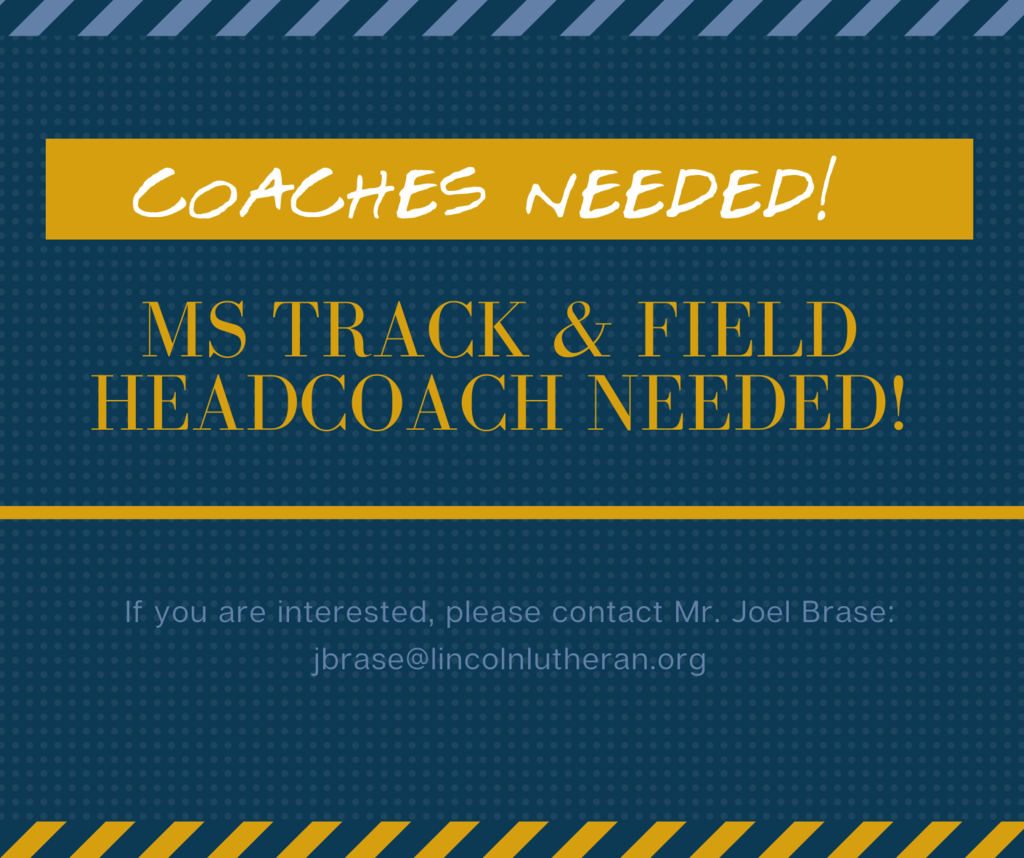 Coaches Needed poster on a Navy background with blue dots