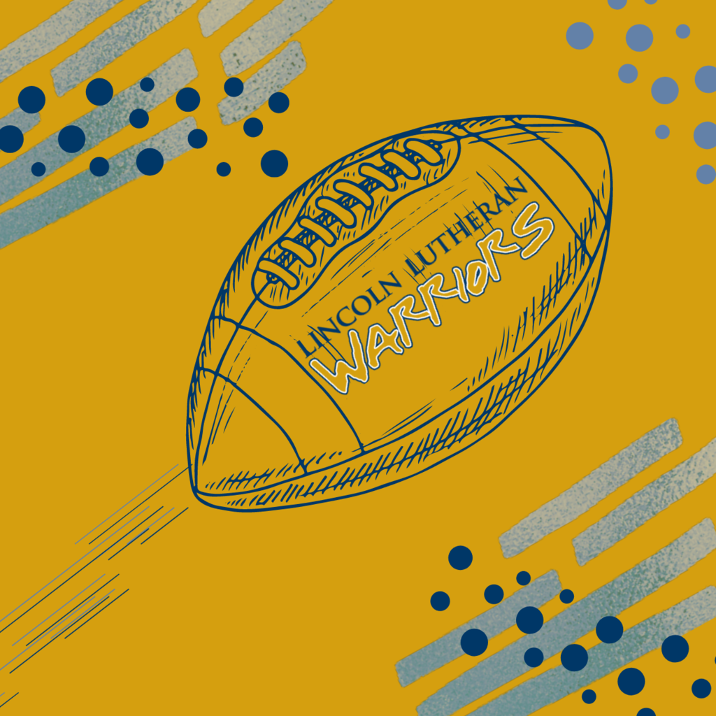 Gold Background with a football and a school logo
