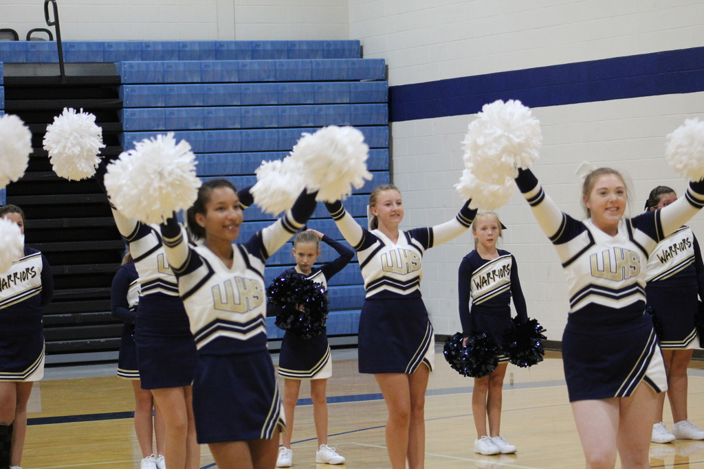 LLHS Cheerleaders leading a cheer