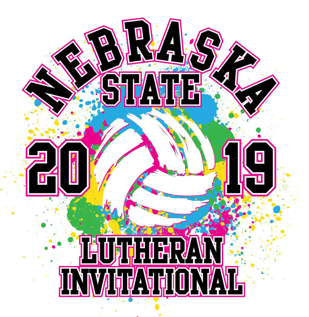 Colorful Volleyball logo - Neb state Lutheran invite