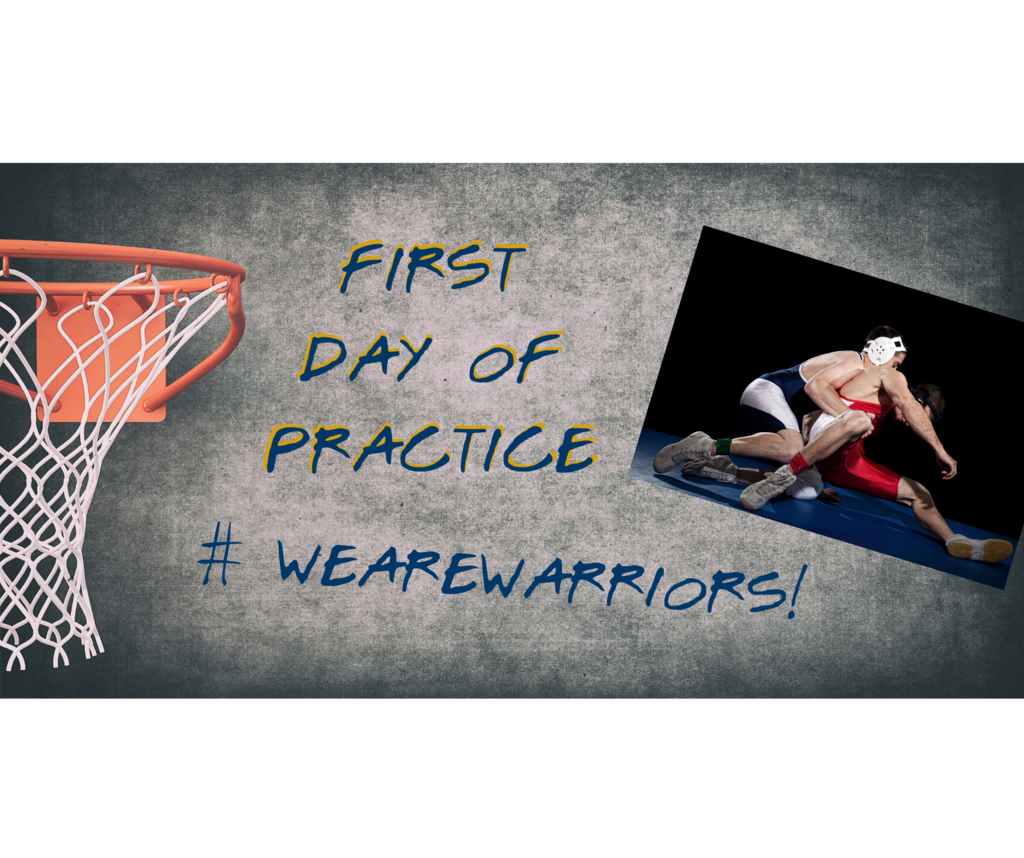 First Day of practice with basketball hoop and wrestlers