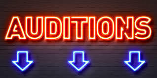 "Neon lights ""Auditions"" sign"