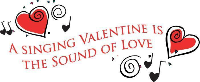 Singing Valentine is the sound of love with hearts and musical notes
