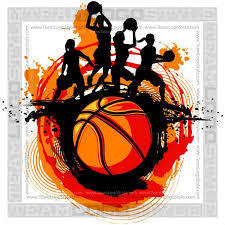 Basketball with female basketball players in sillouette