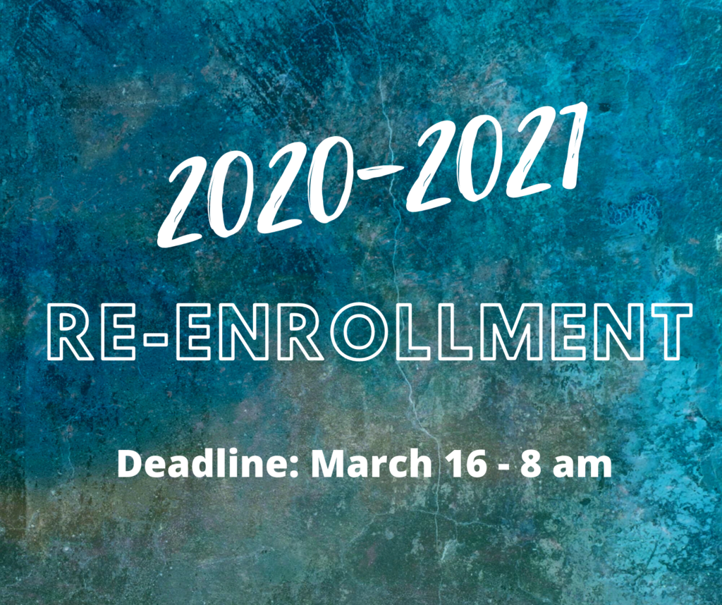 2020-2021 Re-Enrollment on a blue multi-color background