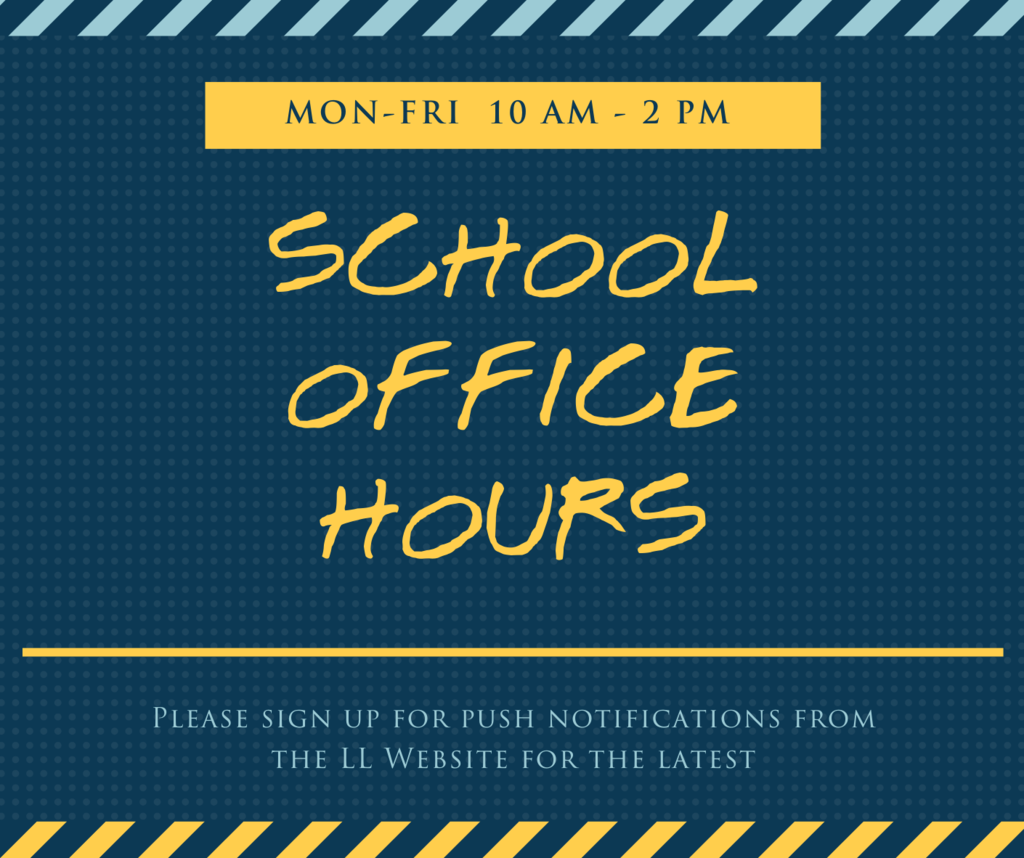 School Office Hours sign on blue background