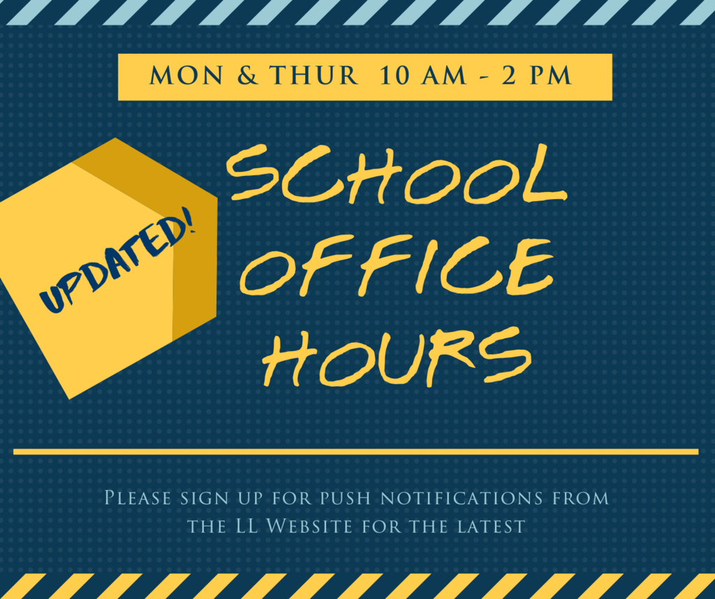 Updated School Office Hours on a blue background