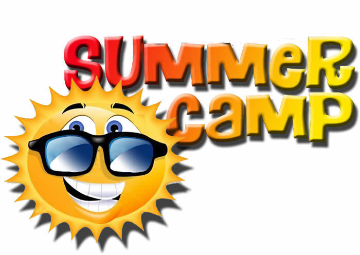 "Sun with sunglasses and ""summer camp"""