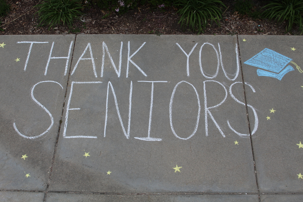 Thank you Seniors sidewalk chalk