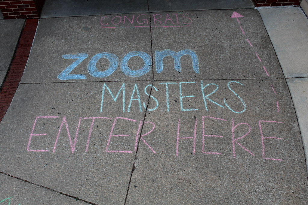 Zoom Masters Enter Here sidewalk chalk