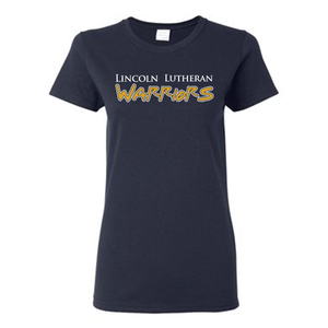 Woman's navy T-Shirt with Lincoln Lutheran Warriors