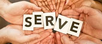 "Hands holding the word ""SERVE"""