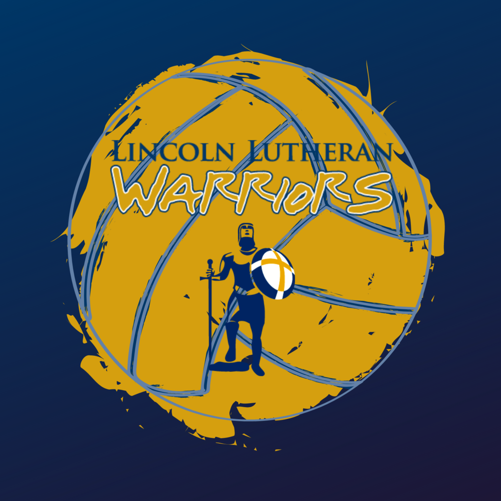 Gold Volleyball on Navy background with Lincoln Lutheran Warriors logo