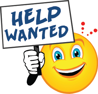 Help Wanted sign held by a smilie face emoji
